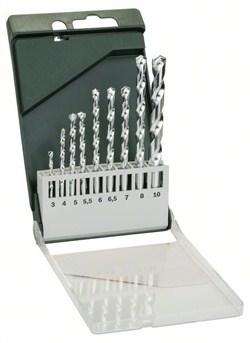 Bosch Набор из 9 свёрл по камню 3,0x60; 4,0x75; 5,0x85; 5,5x85; 6,0x100; 6,5x100; 7,0x100; 8,0x120; 10,0x120 [2609255463]
