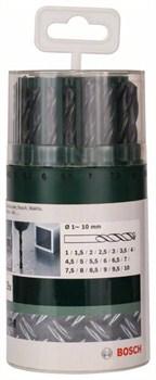 Набор из 19 свёрл по металлу Bosch HSS-R, DIN 338 1,0; 1,5; 2,0; 2,5; 3,0; 3,5; 4,0; 4,5; 5,0; 5,5; 6,0; 6,5; 7,0; 7,5; 8,0; 8,5; 9,0; 9,5; 10,0 mm [2609255033]