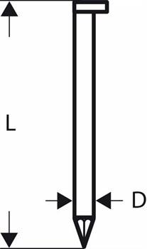 Гвозди с Bosch D-образной головкой SN34DK 90G, в обойме 3,1 мм, 90 мм, оцинк., гладк. [2608200009]