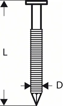 Гвоздь с круглой головкой Bosch SN21RK 60RG 2,8 мм, 60 мм, оцинк., рифл. [2608200036]