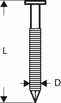 Гвозди с круглой головкой Bosch SN21RK 65RHG, в обойме 2,8 мм, 65 мм, оцинк. огнем, рифл. [2608200039]