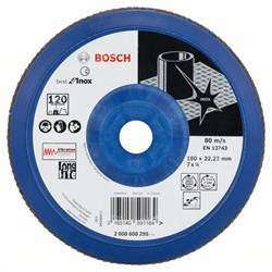 Лепестковый шлифкруг Bosch Best for Inox 180 мм, 22,23, 120 [2608608295]