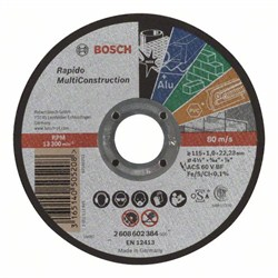 Отрезной круг, прямой, Bosch Rapido Multi Construction ACS 60 V BF, 115 mm, 1,0 mm [2608602384]