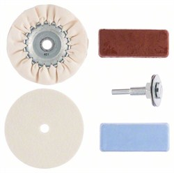 Bosch Набор для полирования Набор для полирования (полировальный войлок, полировальный тканевый круг, зажимная оправка, полировальные пасты) [2609256555]