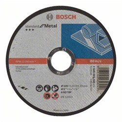 Отрезной диск прямой Bosch Standard for Metal A 60 T BF, 125 mm, 22,23 mm, 1,6 mm [2608603165]
