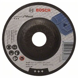 Обдирочный круг, выпуклый, Bosch Standard for Metal A 24 P BF, 115 mm, 22,23 mm, 6,0 mm [2608603181]