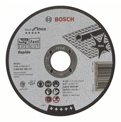 Отрезной круг, прямой, Bosch Best for Inox, Rapido A 60 W INOX BF, 125 mm, 1,0 mm [2608603492]