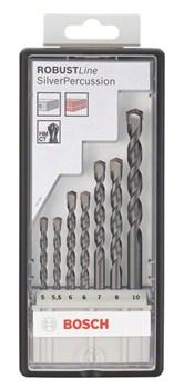 Bosch Набор из 7 свёрл по бетону Robust Line Silver Percussion 5; 5,5; 6; 6; 7; 8; 10 mm 2607010548